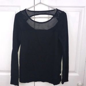 Fabletics l Black Netted Open Back Long Sleeve
